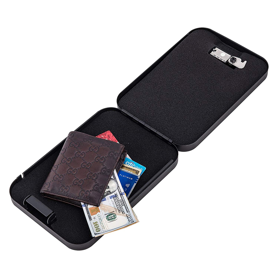 Portable Mini Vault Case with Combination Lock Keyless Security Safe Box for Home Car Office Code Bag
