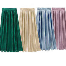 Vintage Women Metallic Luster Stretch High Waist Plain Skater Flared Pleated Long Skirt Gold Sequined Skirts(China)