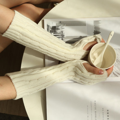 2019 Fashion Women Girl Warm Arm Warmer Cable Knitting Long Fingerless Gloves Sleeves