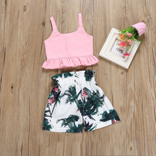 Baby Girl Set Flamingo Toddler Baby Girl Floral Vest Crop Tops Bow Short Pants Outfits Cloth 2PCS Rain Forest Sling Shorts Set baby girl bow decorated glitter bikini set