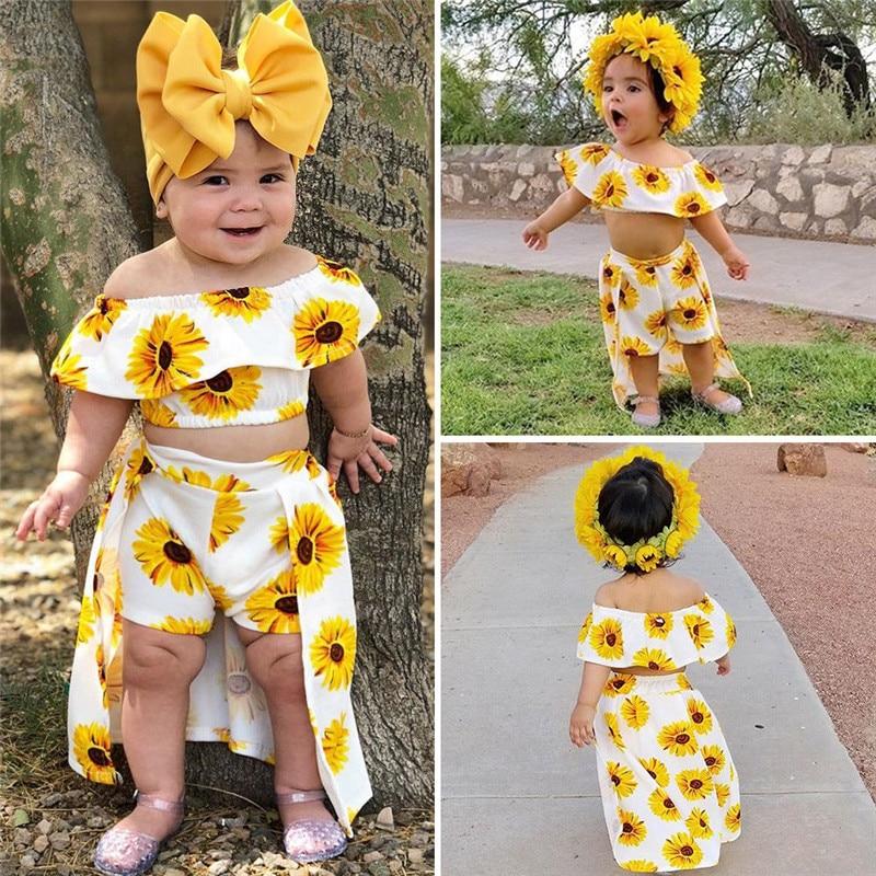 EEFRVDFFDE Baby Girls Skirt Sets Summer Sunflower Print Tops Blouse+Short  Skirts Toddler Costume Set Baby Girls Skirt Sets