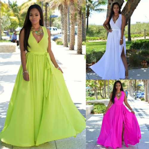 2019 Fashion Sexy Women Summer Long Maxi BOHO V Neck Evening Party Dress Beach Dresses Sundress