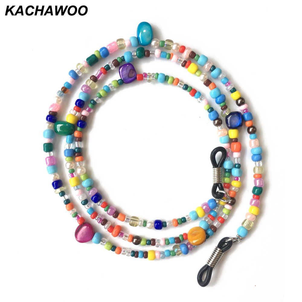 Kachawoo Gemstone Glass Beads Necklace For Women Colorful Cord Chain For Ladies Sunglasses Reading Glasses Accessories