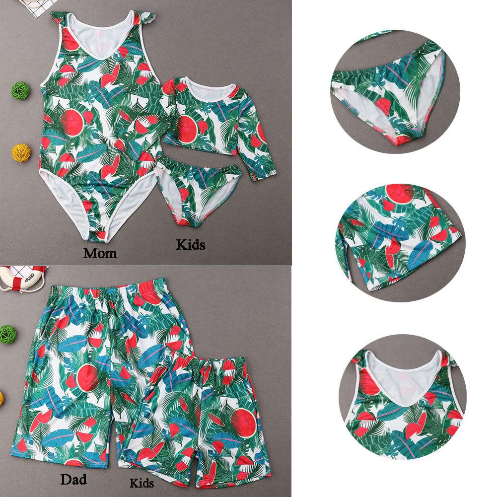 Family Matching Swimwear Men Women Boy Girls Floral Print Bikini Shorts Swimsuit
