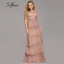 New Arrival Elegant Dress For Women A Line V Neck Spaghetti Straps Layers Party Dress Evening Night Wear 2019 Vestidos De Fiesta
