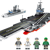 716pcs Aircraft Carrier Building Blocks Military Ship 3D Blocks Educational Model Building Toys birthday Gift for Childrens