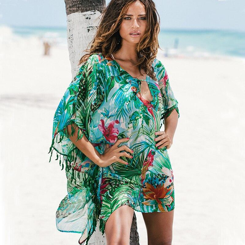 Bohemian Green Tropical Print Leafs Tassel Top Shirt Dress Summer Chiffon Sarong Beach Cover Up Swimsuit Tunic Swim Cover Up