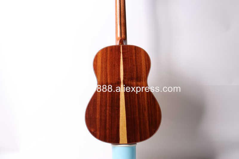 جيتار كلاسيكي صوتي كامل مصنوع يدويًا مقاس 39 بوصة مع سطح شجرة التنوب/خشب الورد الصلب + جسم القيقب + غطاء واقٍ مزخرف لهاتف آيفون ، ملمع