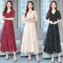 2019  plus size bronzing summer new female temperament of restoring ancient ways is fairy chiffon the maxi dresses 4XL