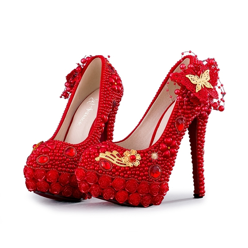 Rose Flower Platform Shoes Red Pearl Handmade Wedding Party Prom Shoes Gorgeous Formal Dress Shoes Banquet Pumps High QualityRose Flower Platform Shoes Red Pearl Handmade Wedding Party Prom Shoes Gorgeous Formal Dress Shoes Banquet Pumps High Quality