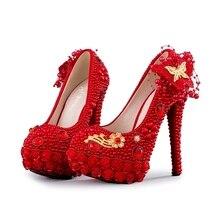 Großhandel red flower high heels Gallery Billig kaufen red