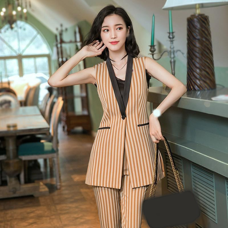 2 Piece Set Elegant Women Long Vest Suit Plus Size Casual Blazer Suit Sleeveless Striped Jacket Office Lady Blazer Trousers 5XL