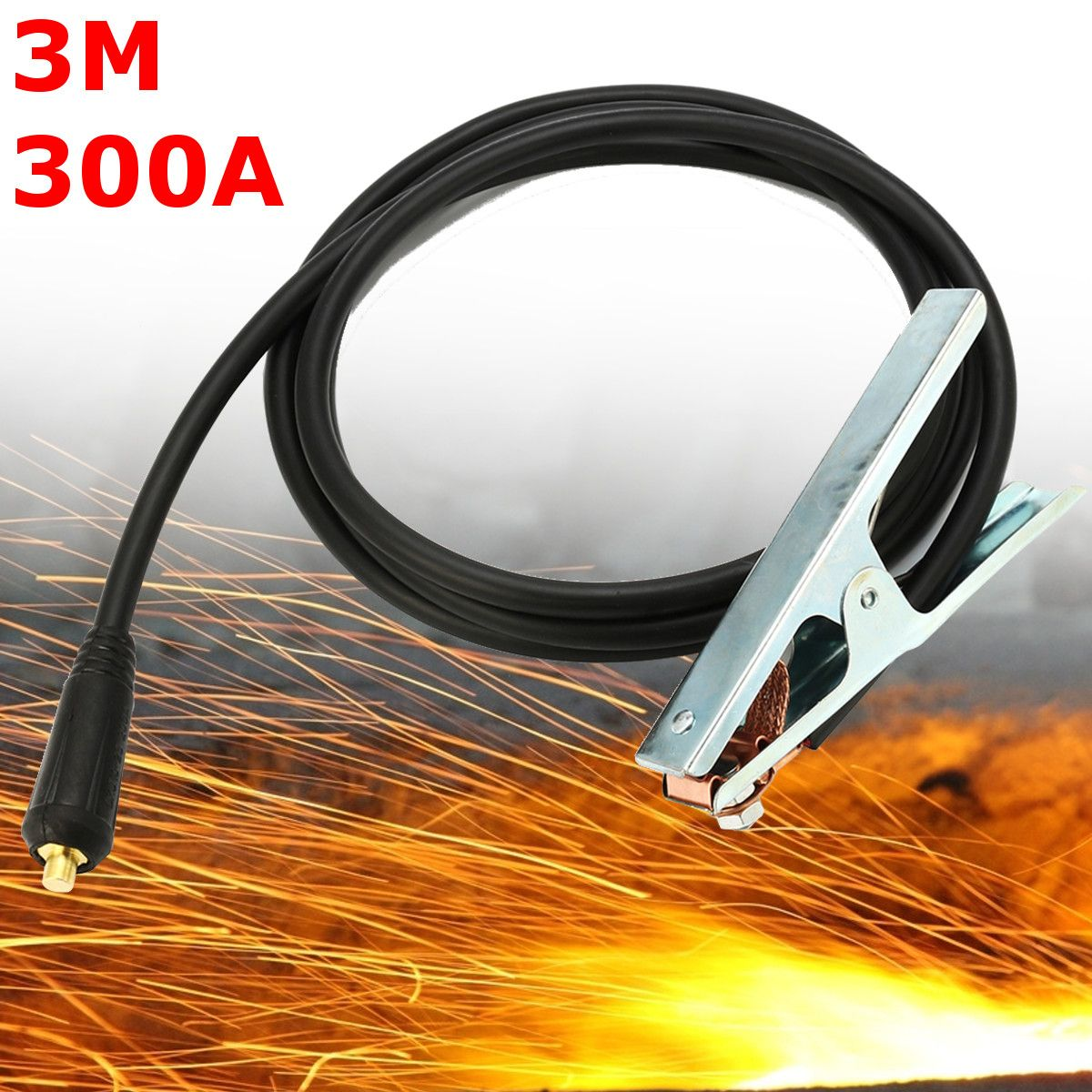 1PC 300A Stick Welding Electrode Holder Cable 1.5M Cable Connector for ARC Inverter Welder