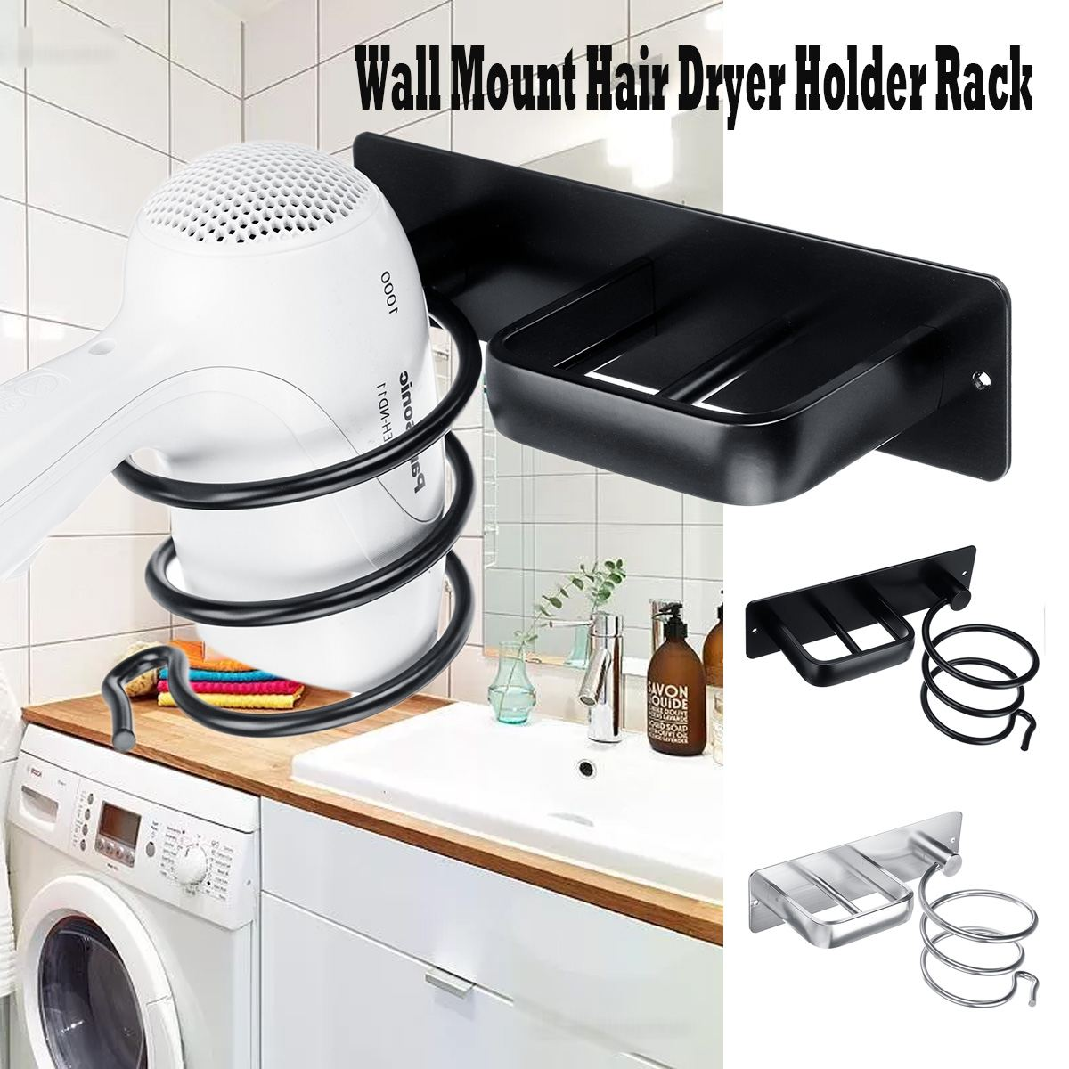 Aluminum Wall Mounted Hair Dryer Rack Organizer Hairdryer Straightener Holder Set Bathroom Shelf For Washroom SuppliesAluminum Wall Mounted Hair Dryer Rack Organizer Hairdryer Straightener Holder Set Bathroom Shelf For Washroom Supplies