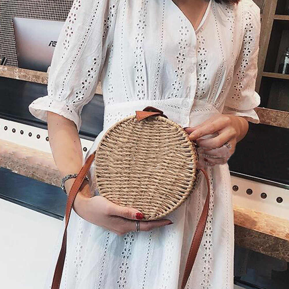 Vintage Handmade Crossbody Leather Bag Round Beach Bag Girls Circle Rattan bag Small Bohemian Shoulder bag