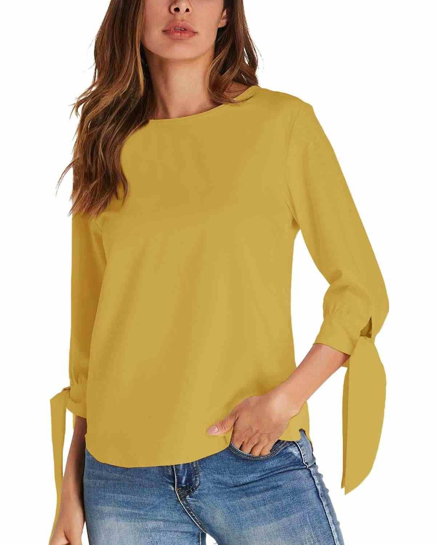 Пуловеры с бантом женские блузки ZANZEA 2019 Летние Элегантные однотонные топы с круглым вырезом 3/4 рукавом рубашки женские повседневные блузы Femininas