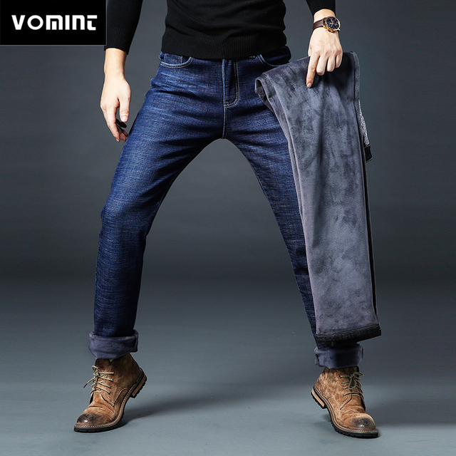 2019 Winter New Mens Fleece Jeans Warm Thicken Grey Fleece Jeans Regular Straight Fit Elasticity Denim Trousers Big Size 44 46