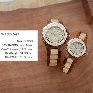 Image 3 - 나무 애호가 커플 시계 럭셔리 듀얼 시계 달력과 연인 친구를위한 선물로 빛나는 두 시계 bewell 100bc