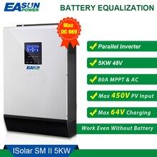 EASUN güç 5000W güneş invertör 5Kva 450Vdc PV 80A MPPT paralel invertör 48V 230V saf sinüs dalga invertör 80A pil şarj cihazı