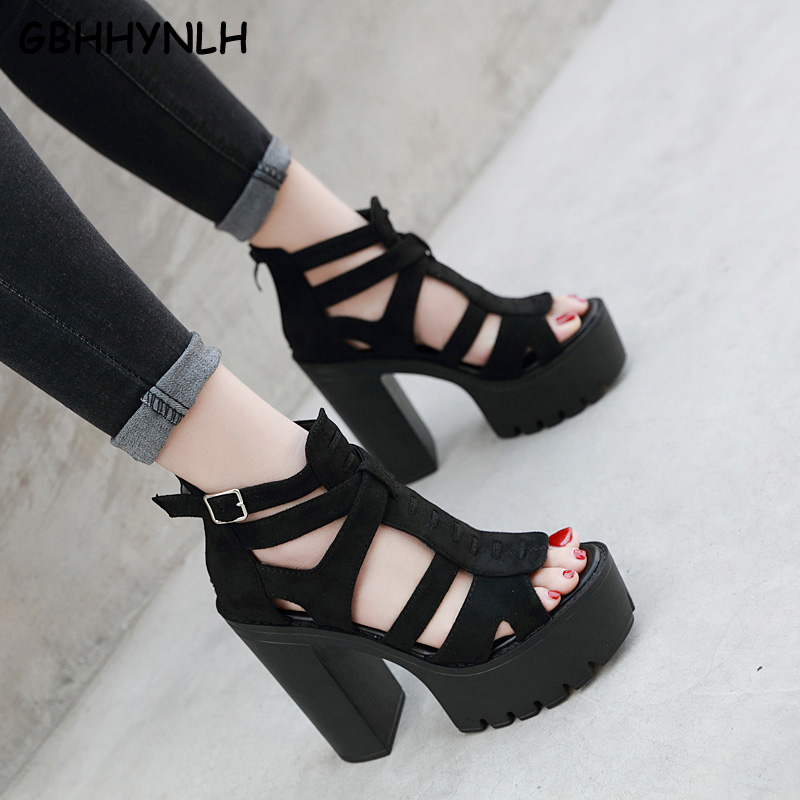 GBHHYNLH Thick Platform Punk Rock Gothic Sandals Women Peep Toe Buckle Chunky Block High Heels Sandals