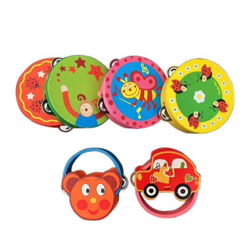 1 Pc Kinder Befrieden Cartoon Trommel Rasseln Spielzeug Baby Hand Trommel Spielzeug Musik Trommel Rasseln Schlagen Instrument Handbell Pädagogisches Geschenk Verpackung Der Nominierten Marke