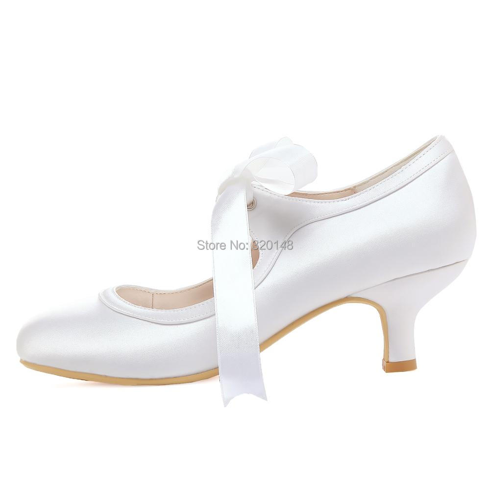المرأة الزفاف أحذية منتصف كعب ماري جين الزفاف حفلة موسيقية حزب اللباس مضخات الحرير السيدات العروس وصيفات الشرف الأبيض العاج أحذية HC1803 02-في أحذية نسائية من أحذية على  مجموعة 3