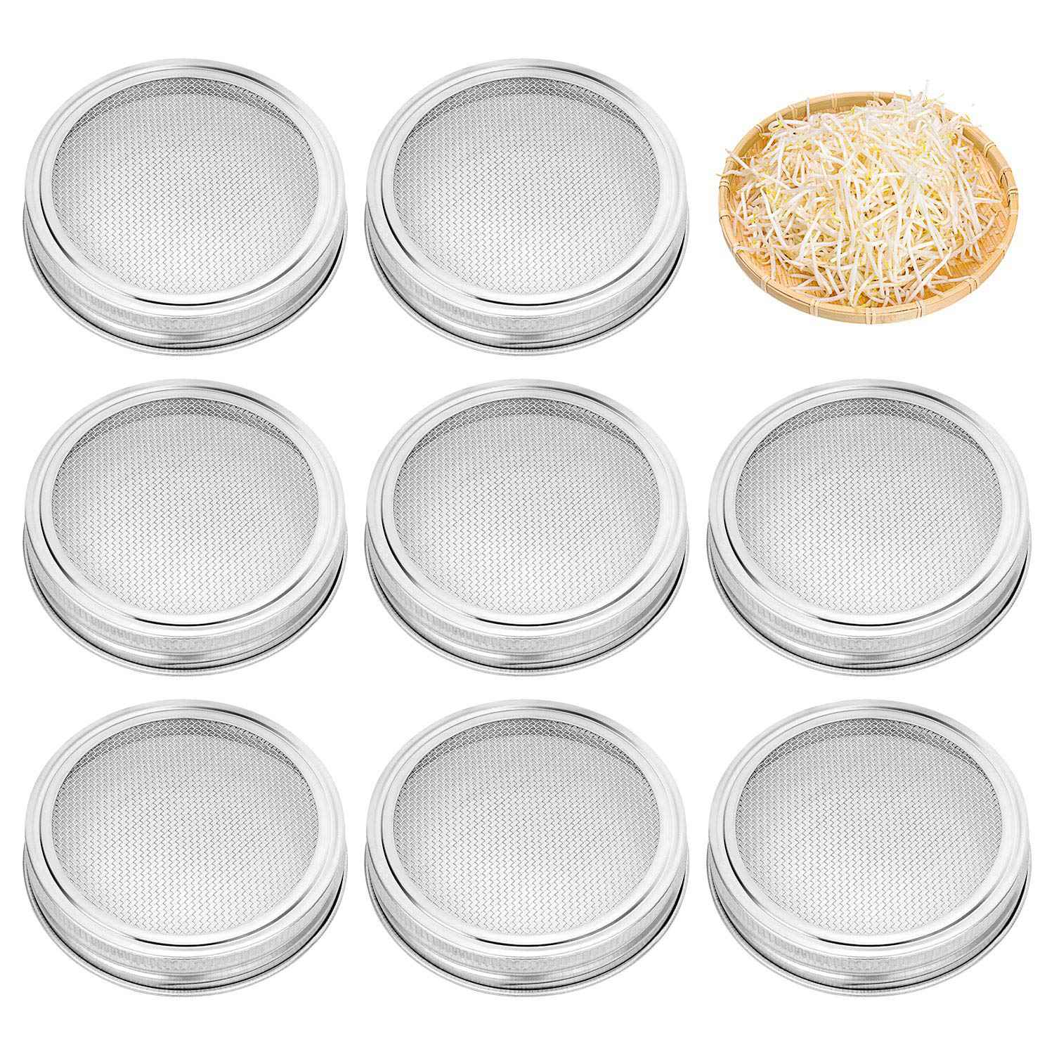 8 Pack Stainless Steel Sprouting Jar Lid Kit For Wide Mouth Mason Jars,Strainer Screen For Canning Jars And Seed Sprouting8 Pack Stainless Steel Sprouting Jar Lid Kit For Wide Mouth Mason Jars,Strainer Screen For Canning Jars And Seed Sprouting