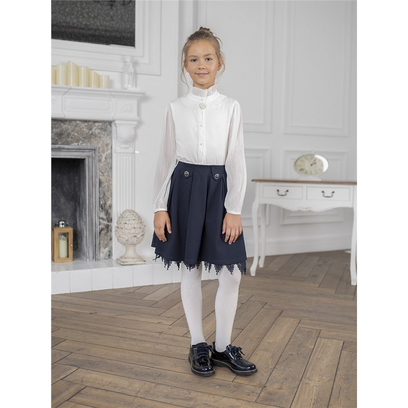 Фото - Blouses & Shirts Sweet Berry Blouse knitted for girls children clothing contrast lace keyhole back blouse