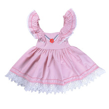 Cute Baby Girls Dress Lace Floral Party Dress Solid Ruffles Sleeveless Sundress Girls Summer Clothing Baby Dresses