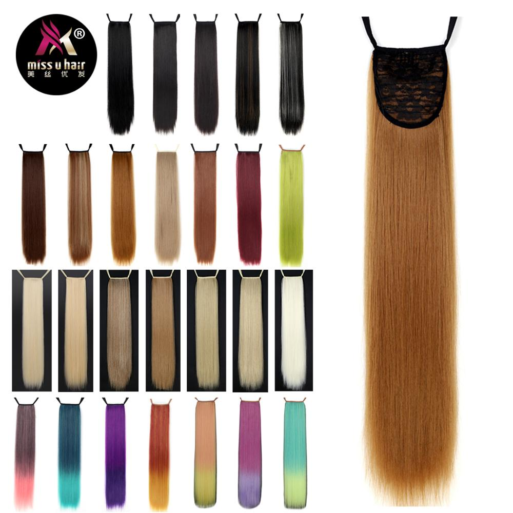 "Diligent Miss U Hair 24"" 60cm 18 Colors Long Straight Ribbon Ponytail Synthetic Clip In Ponytails Hair Extension Daily Party Wig Punctual Timing"