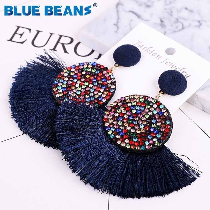 Tassel earrings bohemian statement luxury long earring african colorful handmade women geometric fringe fashion big rhinestone c