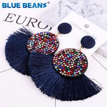 Tassel earrings bohemian statement luxury long earring african colorful handmade women geometric fringe fashion big rhinestone c(China)