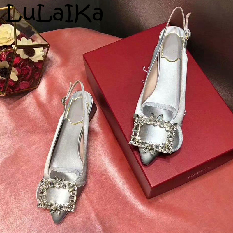 2019 New Lady Wedding Party High Heels Fashion Brand Pointed Toe Rhinestone Shining Elegant Buckle Woman Solid Color Pumps Shoes2019 New Lady Wedding Party High Heels Fashion Brand Pointed Toe Rhinestone Shining Elegant Buckle Woman Solid Color Pumps Shoes