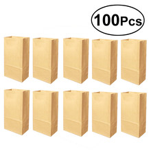 100pcs Kraft Paper Gift Wrap Bag Open Top Eco friendly Lunch Bread Food Snacks Shopping Bag Pouch Packaging Bag(China)