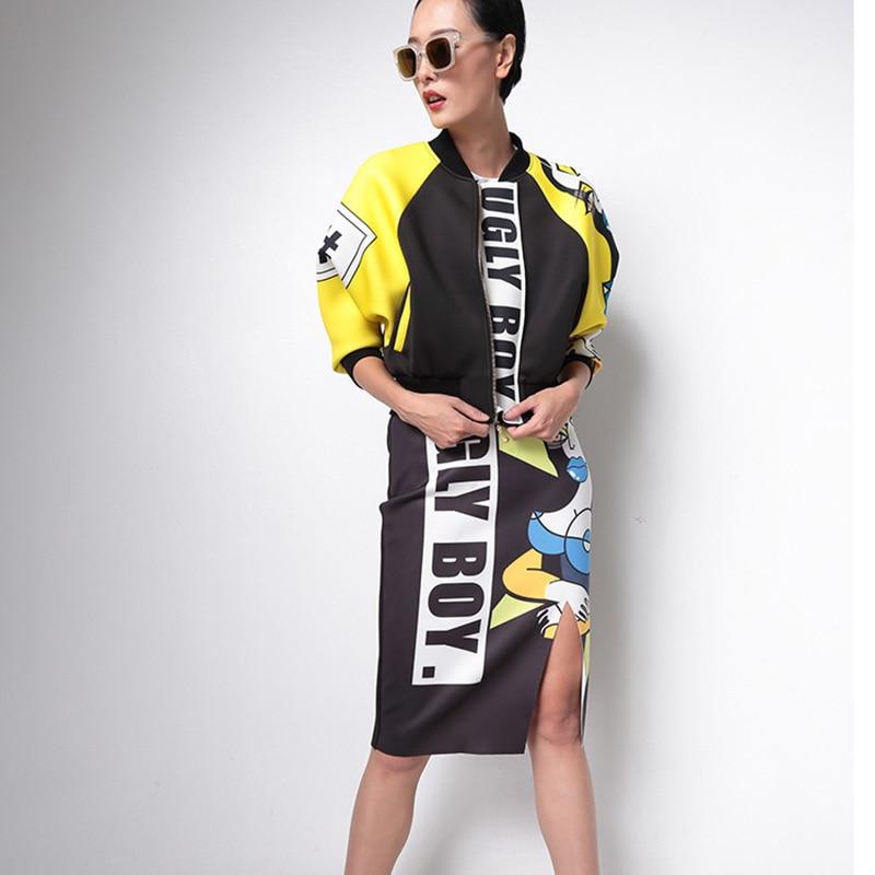 1ts14131 Stand Automne ewq Noir Grande Jacekt Femmes Longues Manteau À Imprimé Black Lâche Zipper Nouveau 2018 Taille Collier De Mode Manches qppHwt