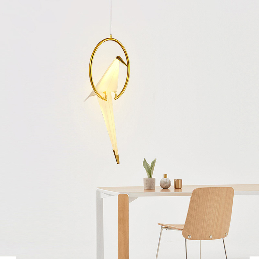 Contemporary Paper Crane Led Metal Pendant Lamp Light Fixtures Loft Living Room Dining Room Bedroom Bird Design Hanging Lamp in Pendant Lights from Lights Lighting
