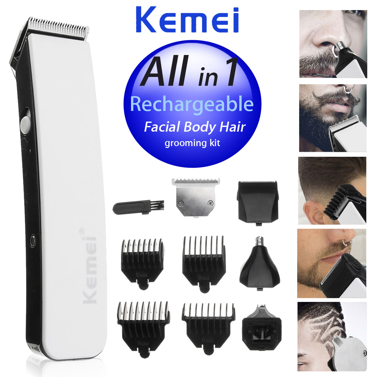 все цены на KEMEI Professional 5 In 1 Electric Hair Trimmer Baby Low Noise Hair Clipper For Men Rechargeable Hair Cutting Machine Haircut онлайн