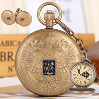 Retro Double headed Eagle Pocket Watches for Men Mechanical Pendant Necklace Chain Watch with Phase Sun Moon 24 Hour for Friends