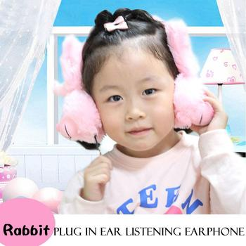 Unisex Foldable Earbuds Rabbit Cartoon Plush Casual Warm up your childs musical ears Wired Headphones Headband