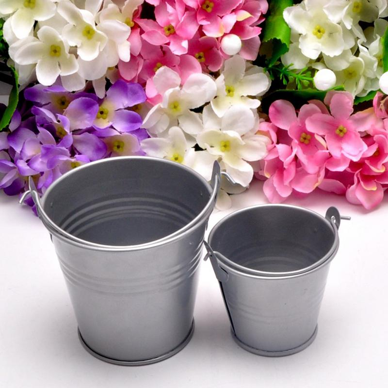 1pcs Potted Home Candy Craft Ornaments Small Iron Barrel Tinplate Mini Bucket 6* 4*5.5cm Hot Sale