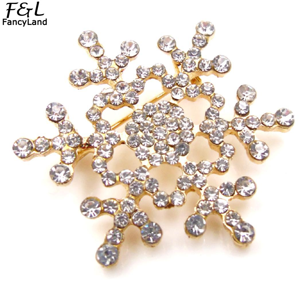 6inch 1 5g Fashion Snowflake Gold Casual 4cm 8 Party Alloy Brooch Silver Piece Women 1 Rhinestone Party