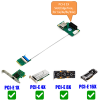 NGFF M.2 Key A/E to PCI E Express 1X/4X/8X/16X USB Riser Card NGFF slot Adapter with High Speed FPC Cable for Desktop PC