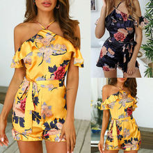 Women's Holiday Mini Playsuit Floral Print Rompers Summer Beach Jumpsuit Casual Shorts Sleeveless Off Shoulder Playsuits open shoulder floral print flounce jumpsuit