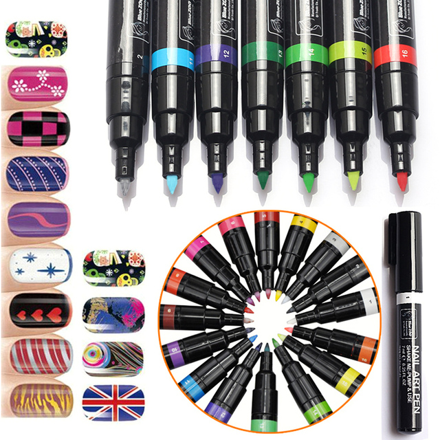 Newest 16 Colors 1pc Gel Nail Varnish Pen Glitter Nail Gel Polish Painting Design Tool Drawing UV LED Gel Polish Manicure Tools