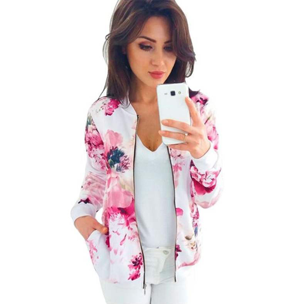 Plus Size Bomber Jacket Spring Women's Jackets Retro Floral Printed Coat 5XL Female Long Sleeve Outwear Clothes Short Tops