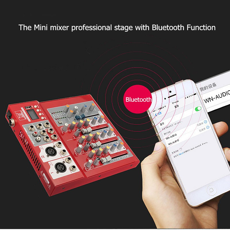 LEORY USB Bluetooth 4 Channel 2 XLR mono 2 stereo  Karaoke Mixer Microphone DJ Audio Console Sound Mixing 48V Phantom PowerLEORY USB Bluetooth 4 Channel 2 XLR mono 2 stereo  Karaoke Mixer Microphone DJ Audio Console Sound Mixing 48V Phantom Power