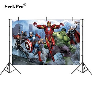 Image 2 - Vinyl Personalized super heroes Iron man Hulk Banner Photography Backgrounds professional indoor Birthday Banner Photo Backdrops