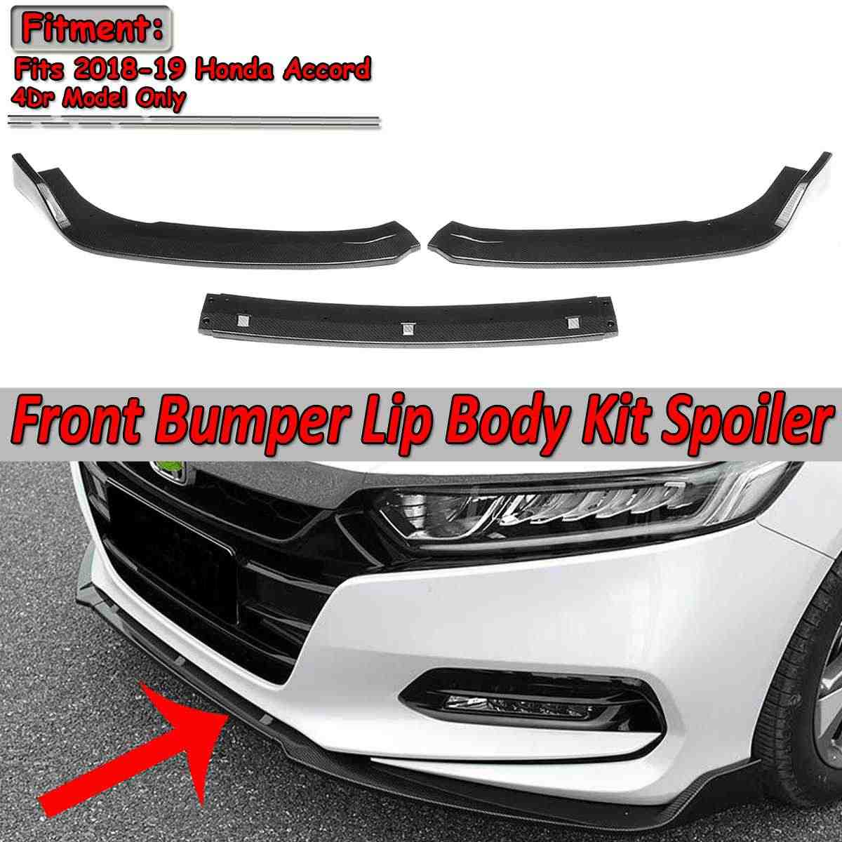 3 個設計された車フロントバンパースポイラー偏向器唇ディフューザーボディキットアコード用ホンダ用 4Drモデル 2018-2019