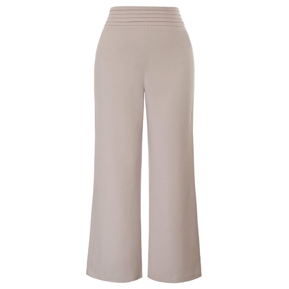 GK elegant office ladies work wear   pants   Women business trousers Solid Color Pleated Waist Wide Leg   Capri   Cropped   Pants   pantalon