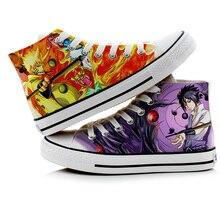 Zapatos de lona de Naruto para hombre, botas transpirables con estampado fresco, zapatos de cosplay de estudiante para Halloween, zapatillas pintadas a mano de dos lados, A9069